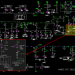 sample-site single line diagram cad drawing