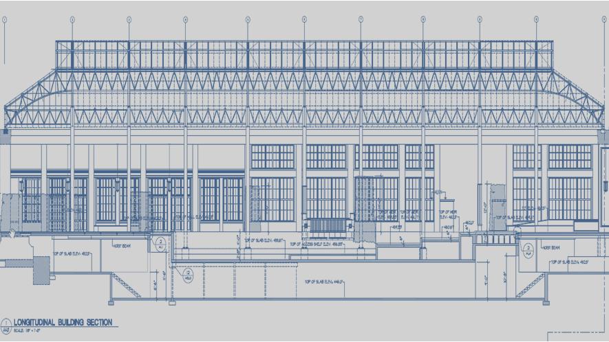longitudinal building section cad drawing